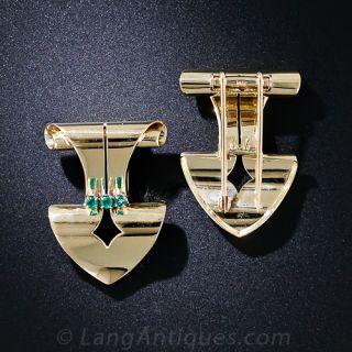Tiffany & Co. Retro Emerald Dress Clips and Earrings