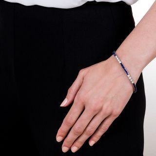 Tiffany & Co. Art Deco Diamond and Sapphire Line Bracelet