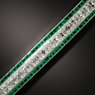 Tiffany & Co. Art Deco French-Cut Diamond and Calibre Emerald Bracelet - 2