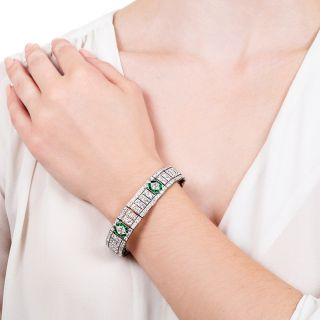 Tiffany & Co. Art Deco Lozenge-Cut Diamond and Emerald Bracelet
