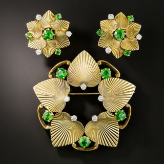 Mid-Century Tiffany & Co. Demantoid Garnet and Diamond Earrings & Brooch - 3