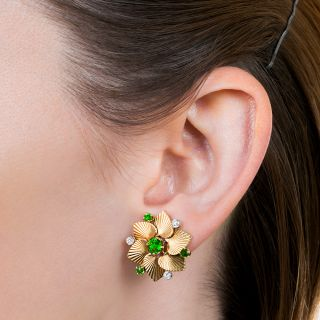 Tiffany & Co. Demantoid Garnet and Diamond Earrings & Brooch