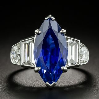 Tiffany & Co. Late-Art Deco 6.60 Carat Marquise No-Heat Ceylon Sapphire and Diamond Ring - AGL - 2