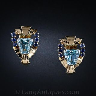 Tiffany  & Co. Retro Aquamarine and Sapphire Earrings - 1