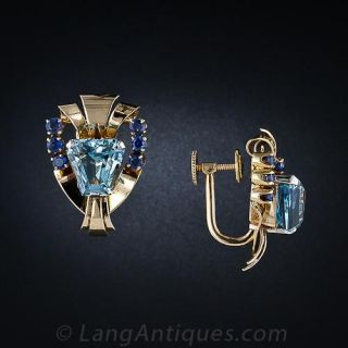 Tiffany  & Co. Retro Aquamarine and Sapphire Earrings