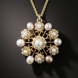 Tiffany Natural Pearl and Diamond Brooch/Pendant, Circa 1890 - 2