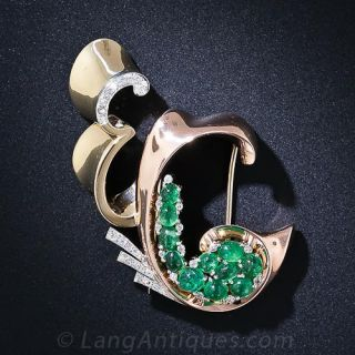 Trabert & Hoeffer Mauboussin Cabochon Emerald & Diamond Retro Brooch