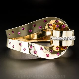 Trabert & Hoeffer Mauboussin Retro Ruby and Diamond Bracelet