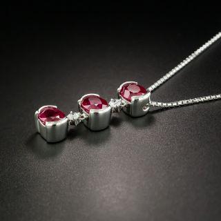 Triple Burma Ruby Platinum Diamond Necklace - GIA