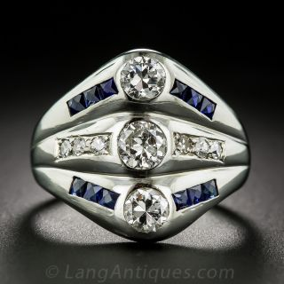 Triple Diamond and Sapphire Art Deco Ring
