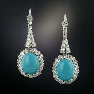 Turquoise and Diamond Drop Earrings  - 3