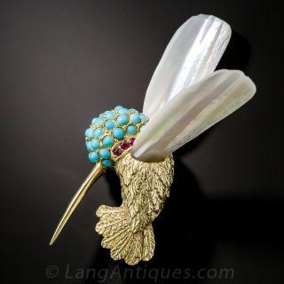 Turquoise Hummingbird Brooch