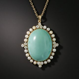 Turquoise Pearl and Diamond Pendant - 2