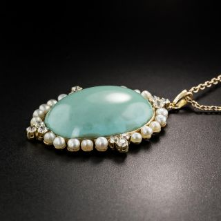 Turquoise Pearl and Diamond Pendant