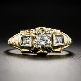 Two-Tone Gold and Diamond Retro Engagement Ring - 1