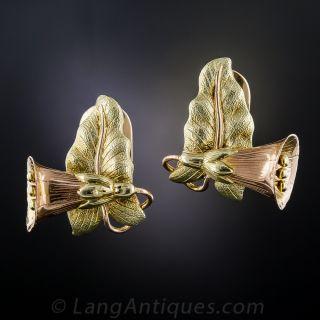 Two-Tone Gold Bell Flower Earrings - 1