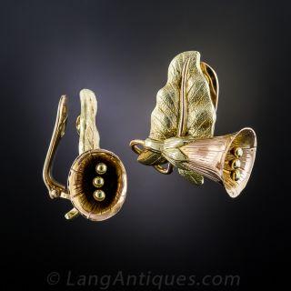 Two-Tone Gold Bell Flower Clip Earrings