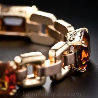 Two-Tone Gold Retro Madeira Citrine Bracelet