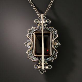 Very Fine Victorian Garnet and Diamond Pin