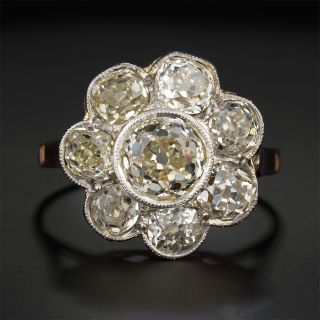 Victorian 1.00 Carat Center Diamond Flower Cluster Ring - GIA L SI1 - 2