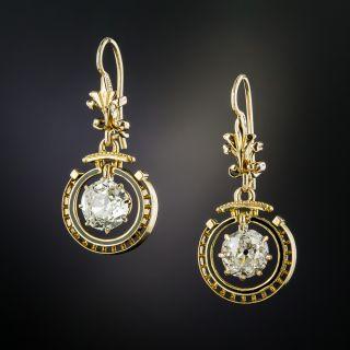 Victorian 1.47 Carat  Diamond Dangle Earrings - 3