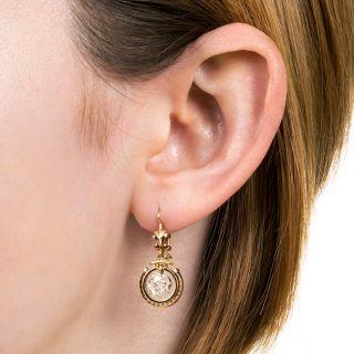 Victorian 1.47 Carat  Diamond Dangle Earrings