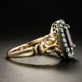 Victorian 1.50 Carat Purple Spinel and Diamond Cluster Ring