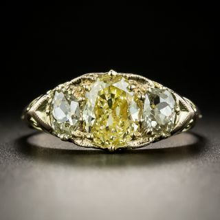 Victorian 1.70 Carat Fancy Yellow Oval Diamond Three-Stone Ring - GIA - 2