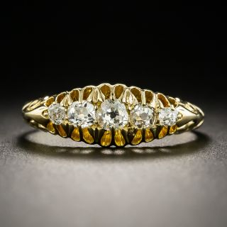 Victorian 18K Five-Stone Diamond Band Ring - 4