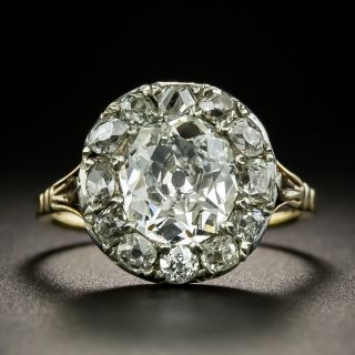 Early Victorian 2.04 Carat Old Mine Cut Diamond Halo Ring - GIA G SI2 - 3