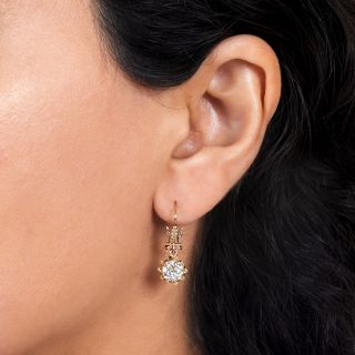 Victorian 2.08 Carat Diamond Drop Earrings - GIA