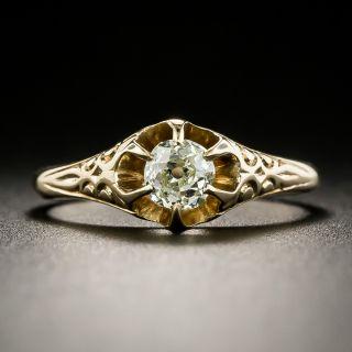 Victorian .25 Carat Old Mine Cut Diamond Solitaire - 3