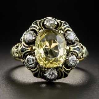 Victorian 3.10  Ct. No-Heat Yellow Sapphire Diamond and Enamel Ring
