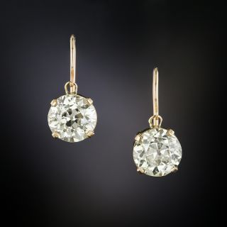 Victorian 3.23 Carat Total Weight European-Cut Diamond Drop Earrings - GIA - 4
