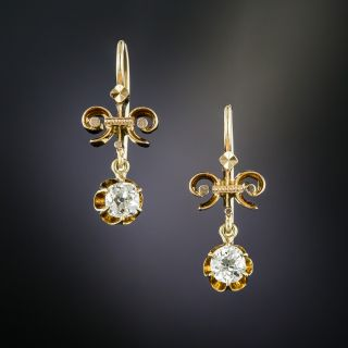 Victorian .50 Carat Total Weight Diamond Drop Earrings - 2
