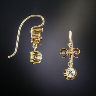 Victorian .50 Carat Total Weight Diamond Drop Earrings