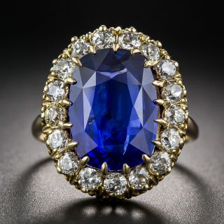 Vintage 7.68 Carat Sapphire and Diamond Ring