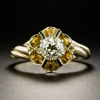 Victorian .81 Carat Diamond Solitaire Engagement Ring - 3