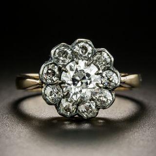 Victorian .87 Carat Diamond Halo Ring - GIA E VS1 - 3