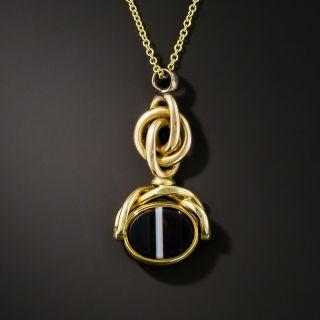 Victorian Agate Seal Fob Pendant - 2