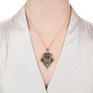 Victorian Aquamarine and Diamond Pendant