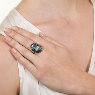 Victorian Aquamarine and Diamond Ring