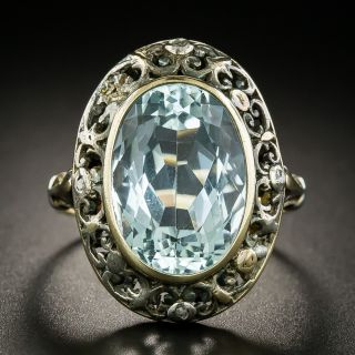 Victorian Aquamarine and Diamond Ring - 3