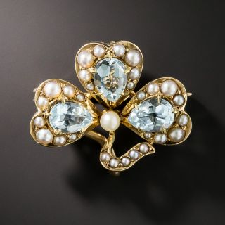 Victorian Aquamarine and Seed Pearl Shamrock Pin