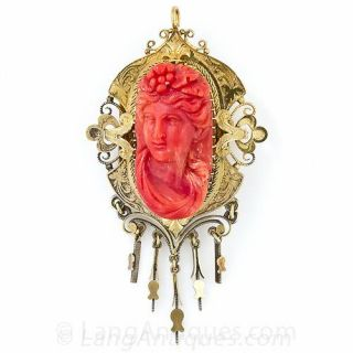 Victorian Bacchus Coral Earrings and Pendant/Brooch