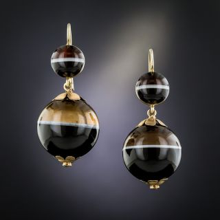 Victorian Banded Agate Ball Earrings - 2
