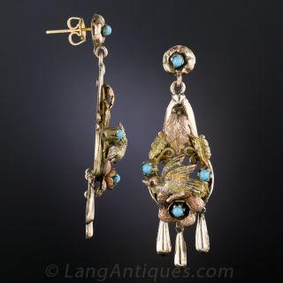 Vintage Mexican Bird Motif Drop Earrings