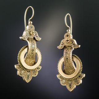 Victorian Black Enamel Drop Earrings - 2