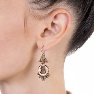 Victorian Black Enamel Drop Earrings
