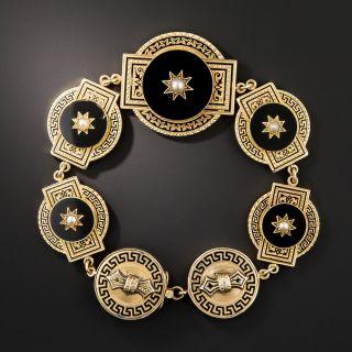 Victorian Black Enamel, Onyx and Pearl Bracelet